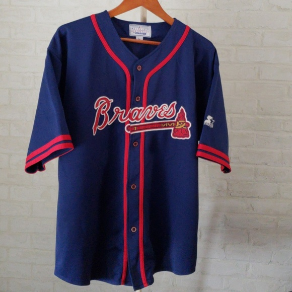 100% authentic 78a83 67d28 ATLANTA BRAVES BLUE JERSEY BASEBALL MENS LRG.